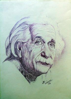 Einstein Drawing - Albert Einstein by Jayantilal Ranpara