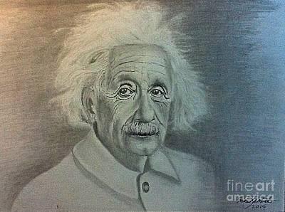 Einstein Drawing - Albert Einstein Portrait by Robert Monk