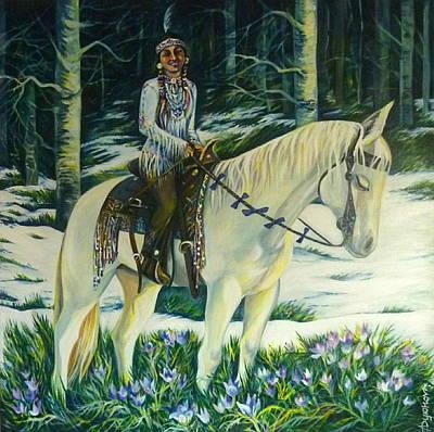 Native American Symbols Painting - Alberta Spring Flowers by Anna  Duyunova