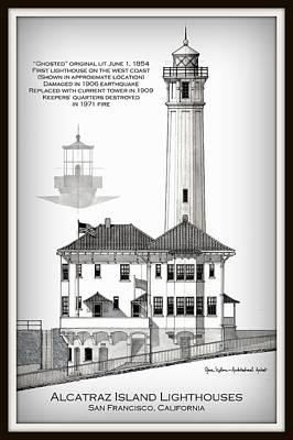 Alcatraz Drawing - Alcatraz Island Lighthouses - Vignette by Gene Nelson