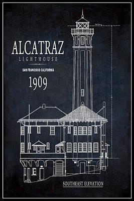 Alcatraz Digital Art - Alcatraz Lighthouse 1909 Blueprint Minimal by Daniel Hagerman