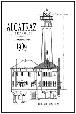 Alcatraz Lighthouse Architectural Drawing Minimal Print by Daniel Hagerman