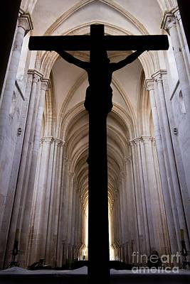 Medieval Temple Photograph - Alcobaca Monastery Church Crucifix by Jose Elias - Sofia Pereira