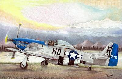 Warbird Mixed Media - Alden Rigby - Blue Nose Warrior by Trenton Hill