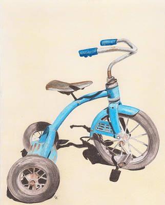 Tricycle Drawing - Alder's Bike by Glenda Zuckerman