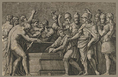Drawing - Alexander The Great Commanding That The Work Of Homer Be Placed In The Tomb Of Achilles by Marcantonio Raimondi