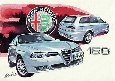 Romeo Painting - Alfa Romeo 156 Sw by Yoshiharu Miyakawa