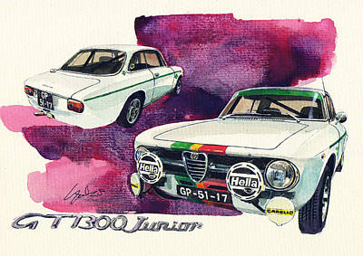 Romeo Painting - Alfa Romeo Gt1300 Junior by Yoshiharu Miyakawa