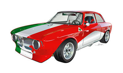 Alfa Romeo Gtv Illustration Original by Alain Jamar