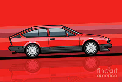 Alfa Romeo Gtv6 Red Stripes Original by Monkey Crisis On Mars