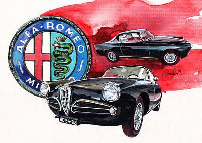 Sprinting Painting - Alfa Romeo Super Sprint C by Yoshiharu Miyakawa