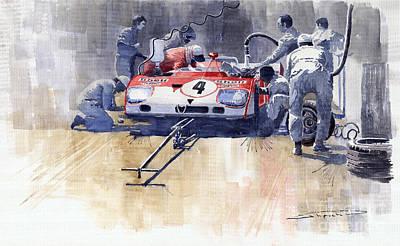 Sport Painting - Alfa Romeo T33 Tt3 1972 Targa Florio  by Yuriy  Shevchuk