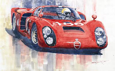 1968 Painting - Alfa Romeo Tipo 33 2 Targa Floria 1968 by Yuriy  Shevchuk