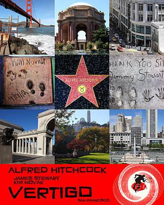 Alfred Hitchcock Jimmy Stewart Kim Novak Vertigo San Francisco 20150608 Text Red Print by Wingsdomain Art and Photography