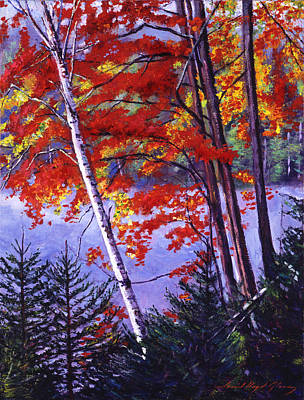 Mist Painting - Algonquin Lake Fall by David Lloyd Glover