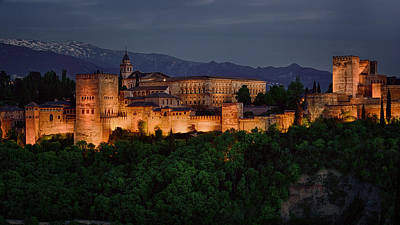 Snowy Night Photograph - Alhambra Sunset by Joan Carroll