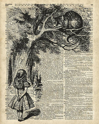 Alice And Cheshire Cat Print by Jacob Kuch