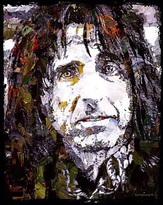 Boa Constrictor Digital Art - Alice Cooper Graffiti Portrait  by Scott Wallace