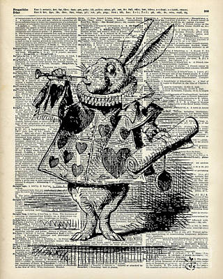 Rabbit Drawing - Alice In The Wonderland The Whitte Rabbit by Jacob Kuch