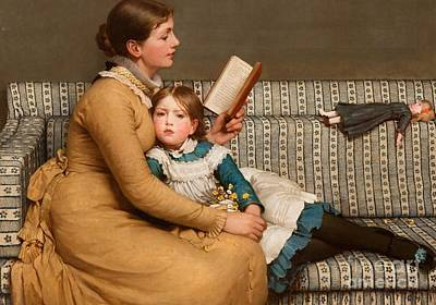 Little Girl Painting - Alice In Wonderland by George Dunlop Leslie