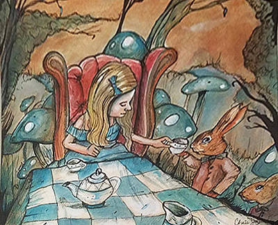 March Hare Mixed Media - Alice Serving Tea by Chris Jay
