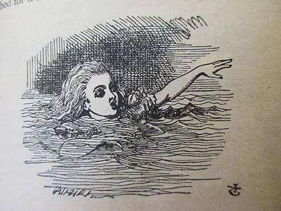 Tears Drawing - Alice Swimming In Her Pool Of Tears by David Lovins