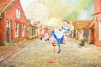 Surrealistic Painting - Alice Visits Europe by L Wright