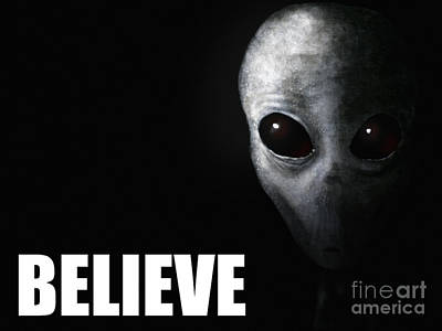 Believe Painting - Alien Grey - Believe by Pixel Chimp