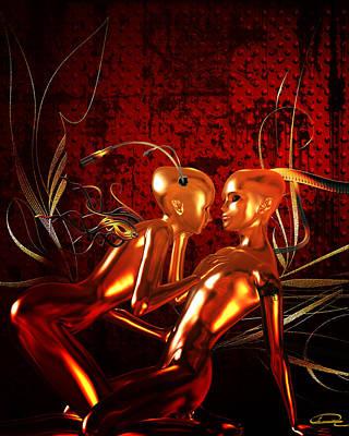 Space Ships Mixed Media - Alien Love by Emma Alvarez