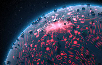 Alien Planet With Illuminated Network Print by Allan Swart