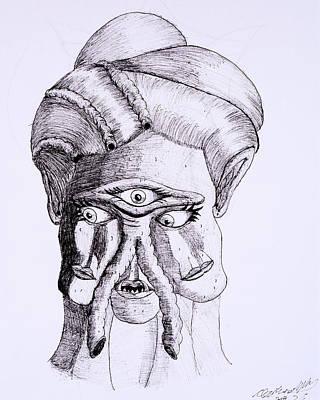 Terrestrial Drawing - Alien Portrait by Clark Norris