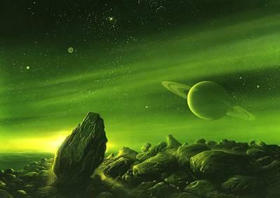 Extraterrestrial Photograph - Alien Ringed Planet, Artwork by Detlev Van Ravenswaay