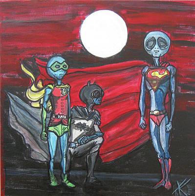 Alien Superheros Print by Similar Alien
