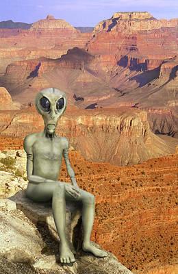 Grand Canyon Digital Art - Alien Vacation - Grand Canyon by Mike McGlothlen