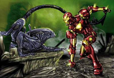 Ironman Painting - Alien Vs Iron Man by Pete Tapang