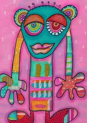 Pink Imaginary Monster Mixed Media - Aliens United-la Primatule by Barbara Orenya