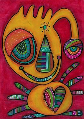 Pink Imaginary Monster Painting - Aliens United-le Poulpillon by Barbara Orenya