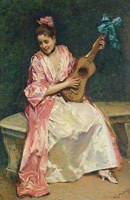 With Guitar Painting - Aline With Guitar by MotionAge Designs