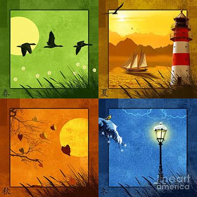 All 4 Seasons Colorfully Print by Monika Juengling