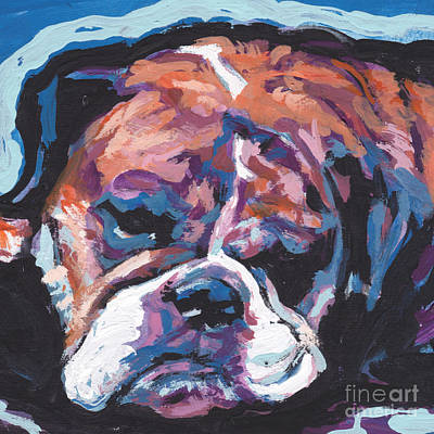 English Bulldog Painting - All Bull Love by Lea S