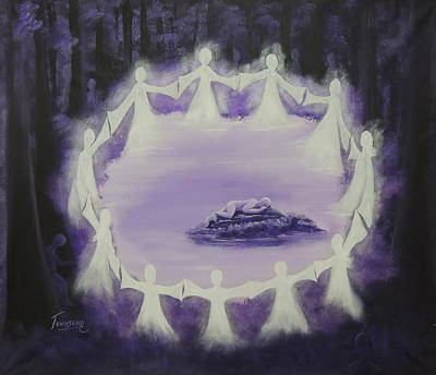 Night Angel Painting - All Through The Night by Connie Townsend