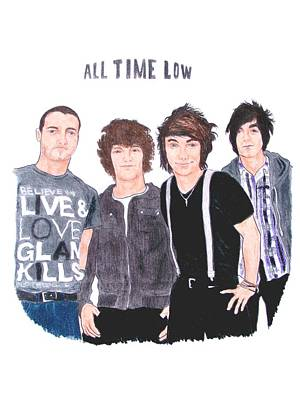 Alternative Rock Band Drawing - All Time Low by Michael Dijamco