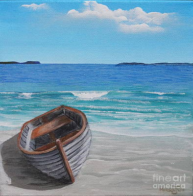Row Boat Drawing - All Washed Up by Merrin Jeff