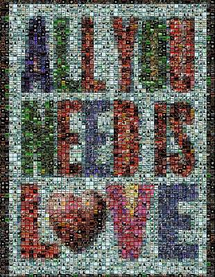 Montage Digital Art - All You Need Is Love Mosaic by Paul Van Scott