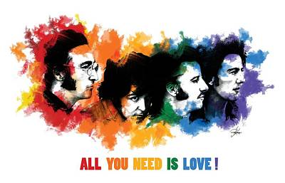 Paul Mccartney Drawing - All You Need Is Love by Ryan Anderson