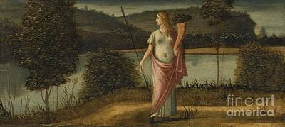 Allegorical Figure Of A Woman In A Landscape Holding A Spear And A Cornucopia Print by Celestial Images
