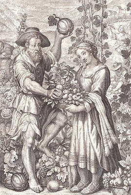 Vegetable Market Drawing - Allegory Of Autumn by Village Antiques