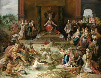 Frans Francken The Younger Painting - Allegory On The Abdication Of Emperor Charles V In Brussels by Frans Francken the Younger