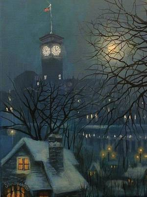 Snow Scene Painting - Allen Bradley Clock Milwaukee by Tom Shropshire