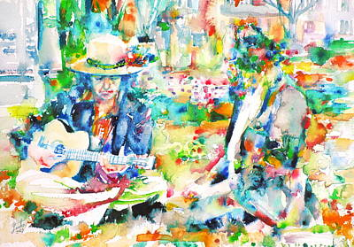 Allen Ginsberg And Bob Dylan - Watercolor Portrait Original by Fabrizio Cassetta